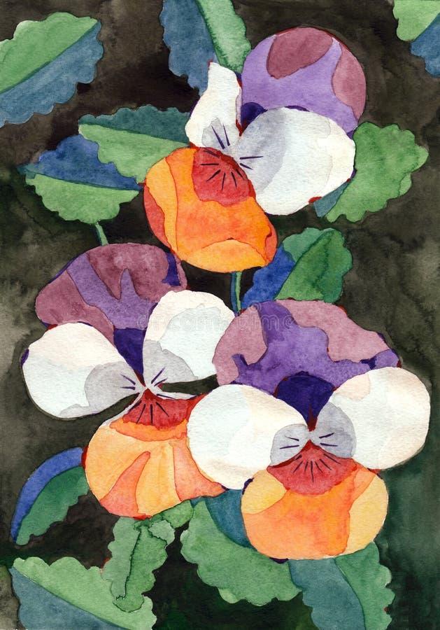 Watercolor painting viola flowers royalty free stock image