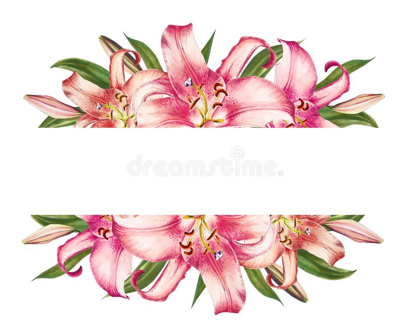 Beautiful pink lily floral text frame. Bouquet of flowers. Floral print. Marker drawing. stock illustration