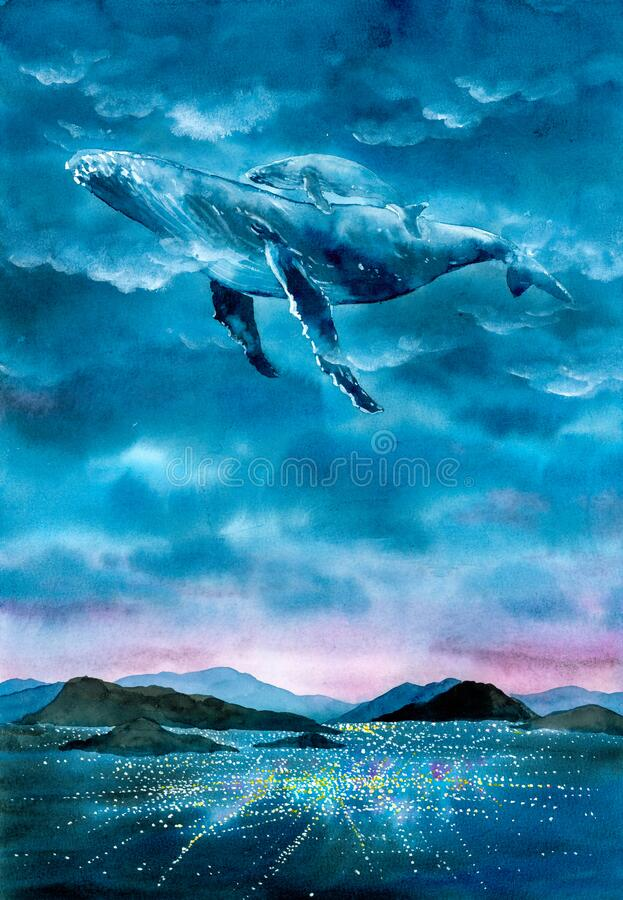 Watercolor Painting - Whale diving into fantasy space royalty free stock photos