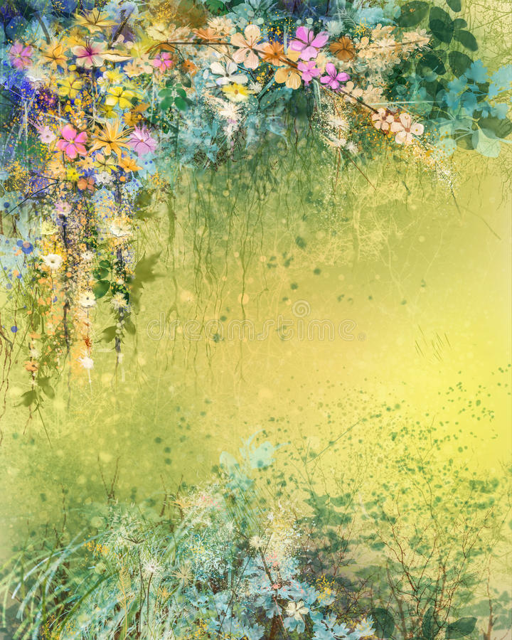 Watercolor painting white, yellow, red Ivy flowers and soft leaves royalty free illustration