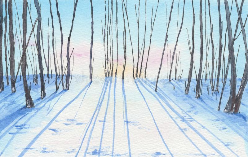 Watercolor painting of a winter landscape. royalty free illustration