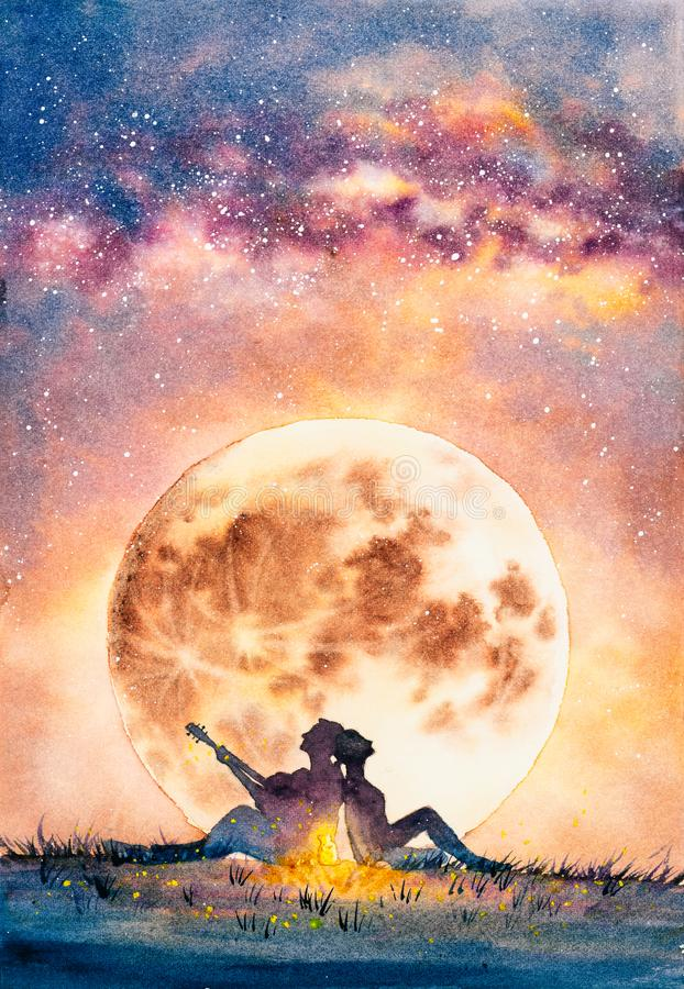 Watercolor Painting - Young man delivers his affection to a fantastic one guitar under moon night. Watercolor Painting about Young man delivers his affection to stock illustration