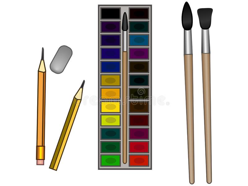 Watercolor paints, brushes and pencils with an eraser. Art materials for children`s creativity. Stationery and school supplies royalty free illustration