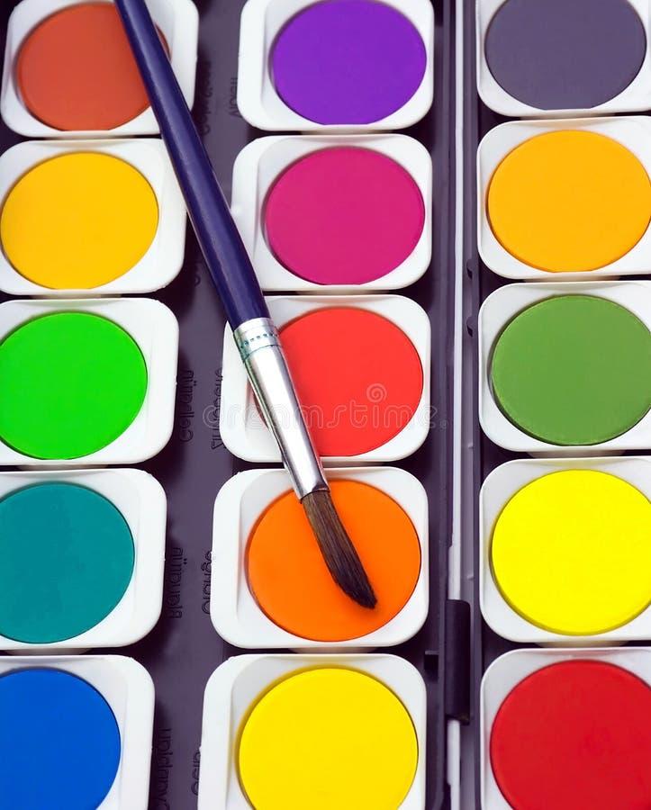 watercolor paints set paintbrush royalty free stock images