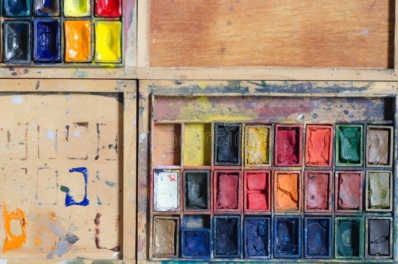 Watercolor paints. Wooden palette of watercolor paints stock photos
