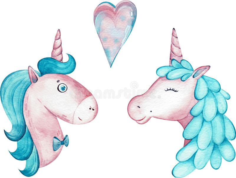 Watercolor pair of cute unicorns isolated on white background. royalty free illustration