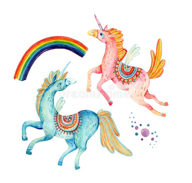 Watercolor Pair Of Flying Unicorns Isolated On White Background