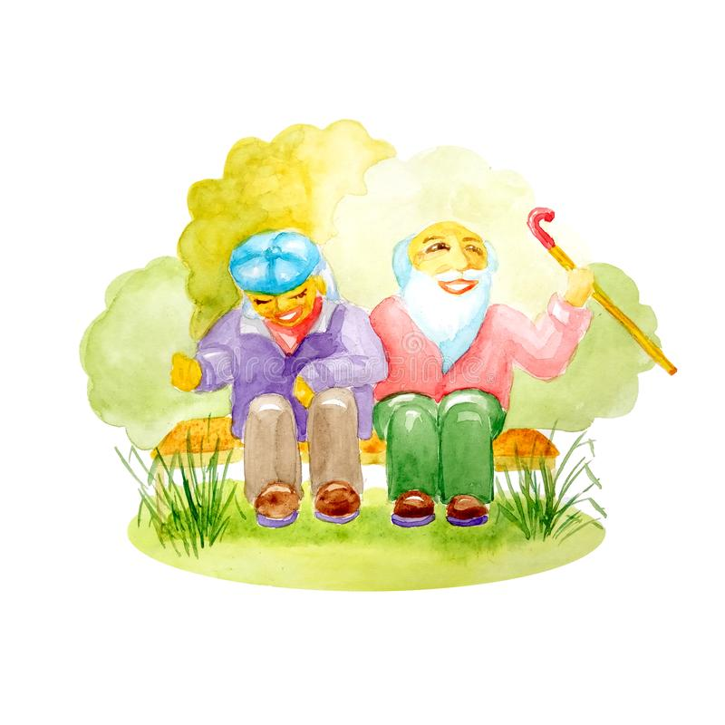 Watercolor pair of white seniors with a cane sitting on a bench in the park and laughing royalty free stock photos