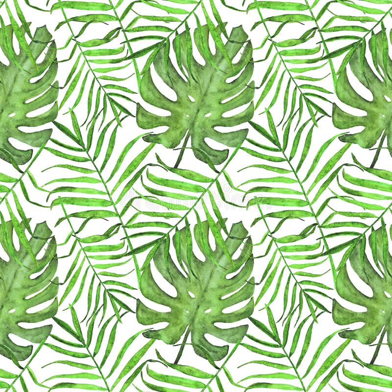 Watercolor palm leaves and monstera seamless pattern. Summer bright pattern of tropical leaves stock illustration