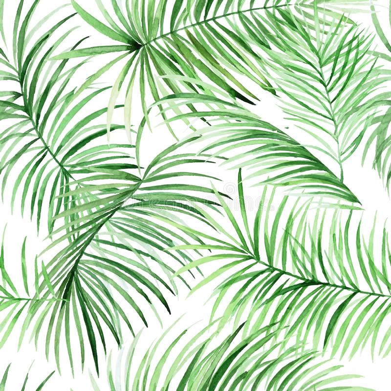 Watercolor palm leaves pattern in vector. royalty free stock images
