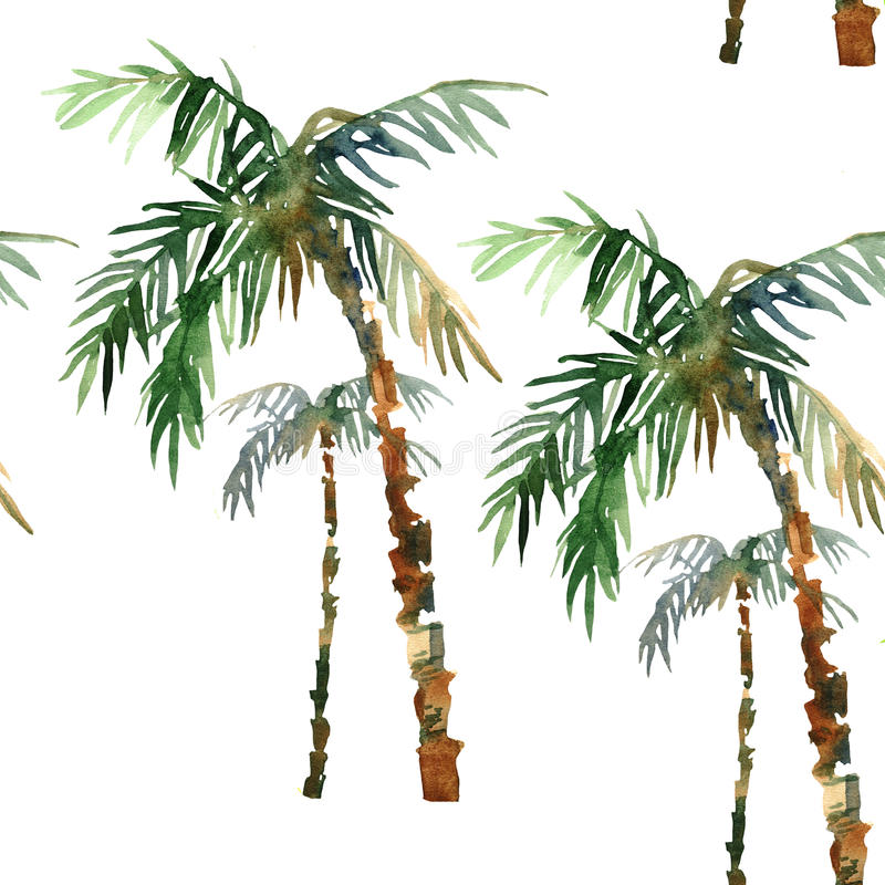 Watercolor palm pattern royalty free stock image