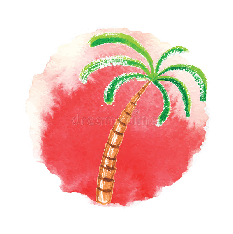 Watercolor palm tree against the sun. Vector logo. vector illustration