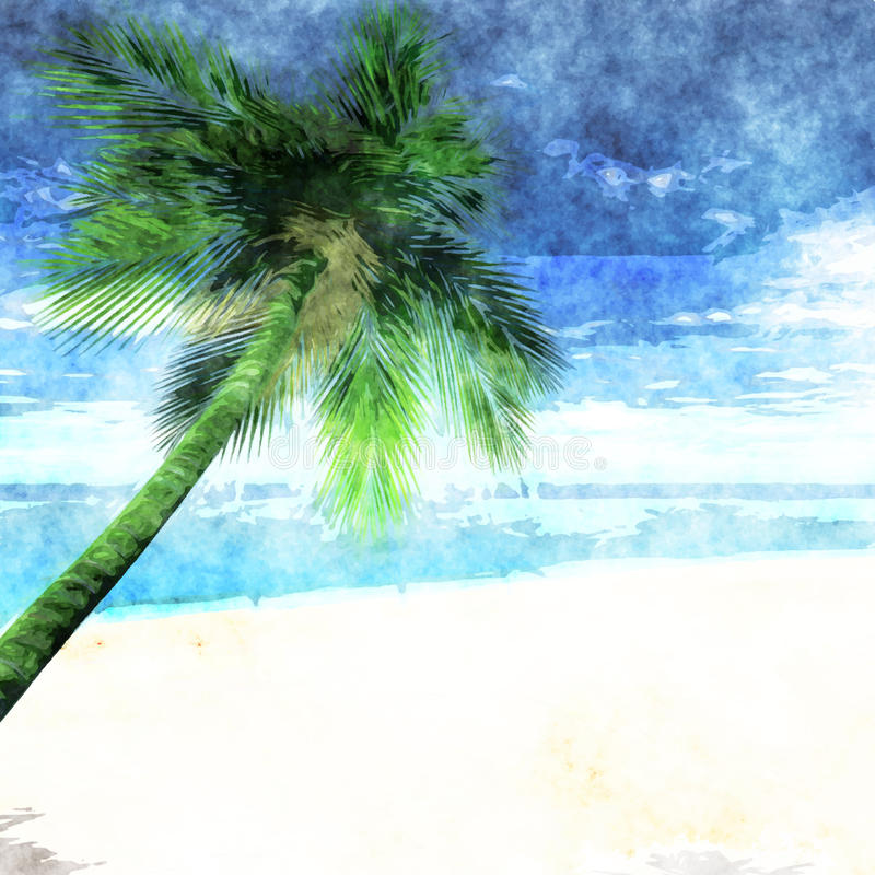 Palm Tree Beach: Watercolor Palm Tree On Beach Stock Vector
