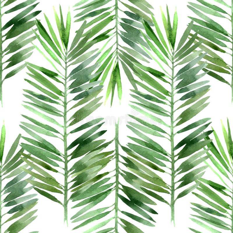 Watercolor palm tree leaf seamless vector illustration