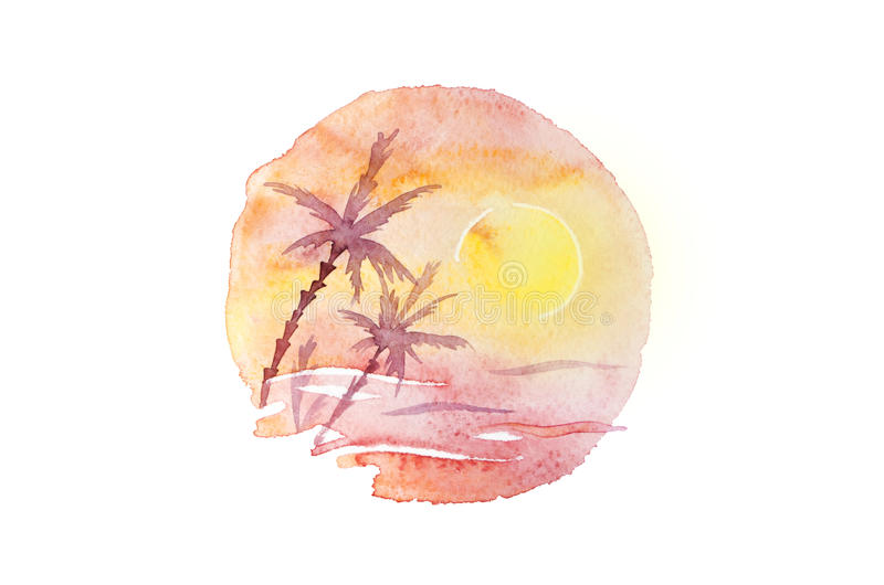 Watercolor palms, sunset and sea in circle composition. Artistic tropical sunrise, round illustration isolated on white stock illustration