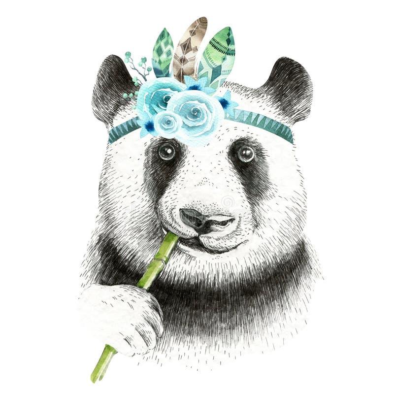 Watercolor panda illustration. Bohemian cute animal. Boho style. stock illustration