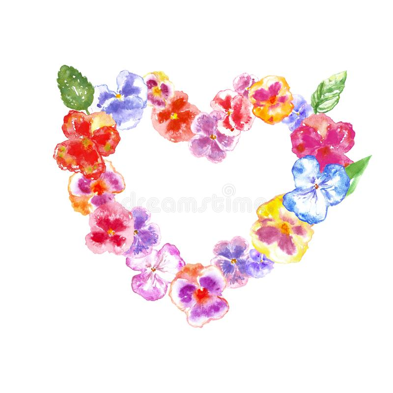 Watercolor pansy flowers wreath illustration, isolated on white background. Floral colorful heart frame royalty free stock images