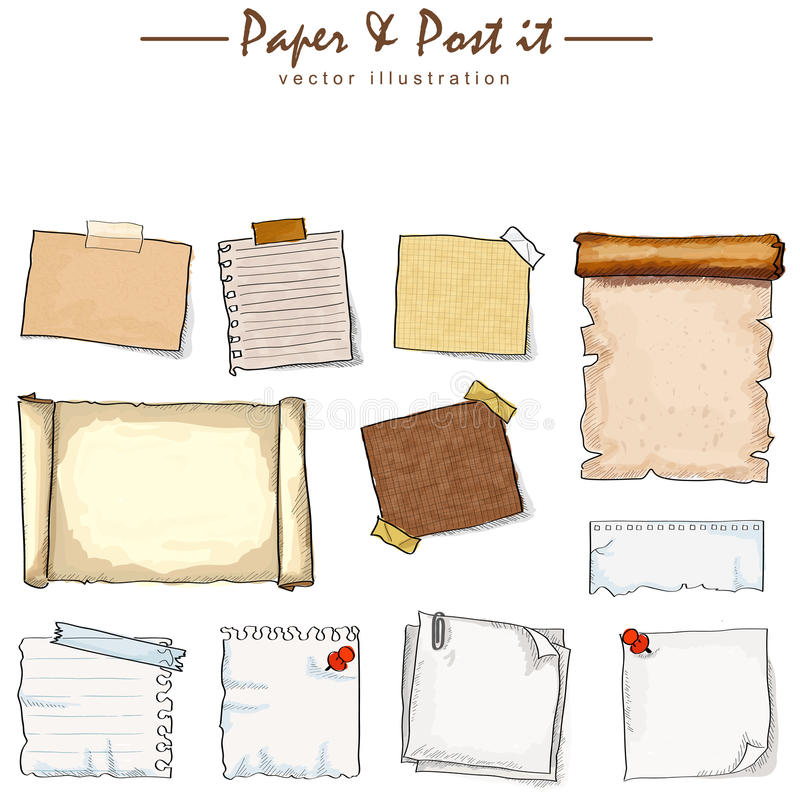Watercolor of paper collection royalty free illustration