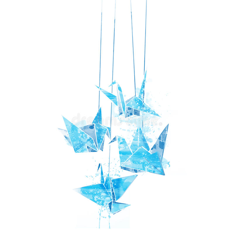 Watercolor paper cranes origami. With spray paint royalty free illustration