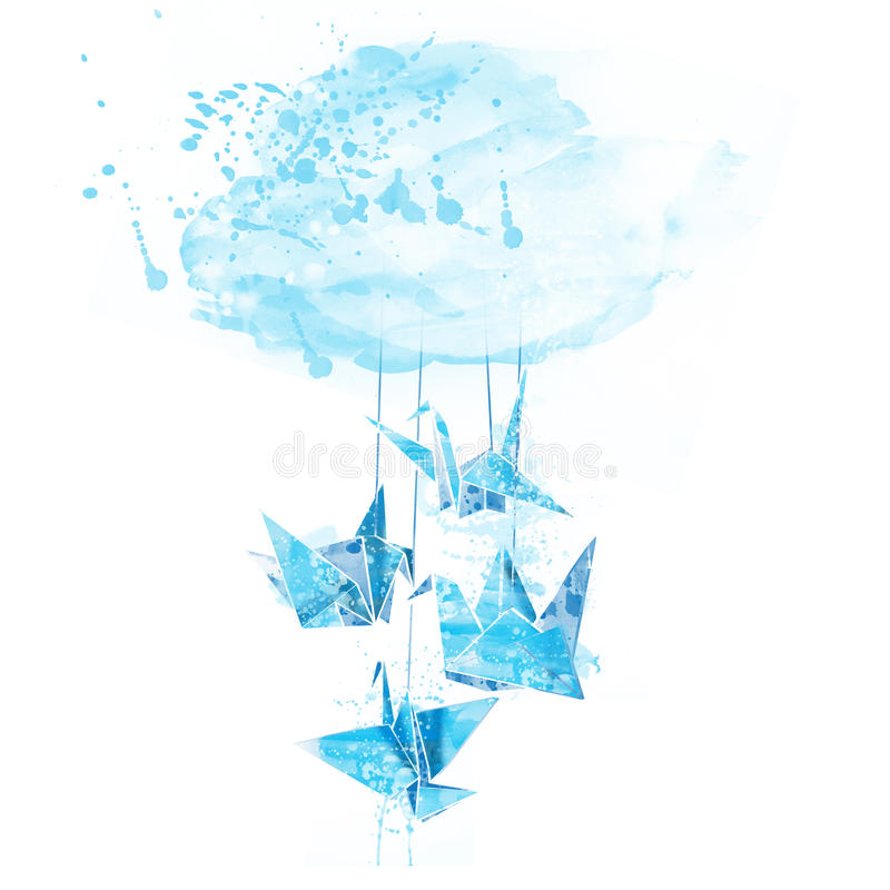 Watercolor paper cranes origami. With spray paint vector illustration