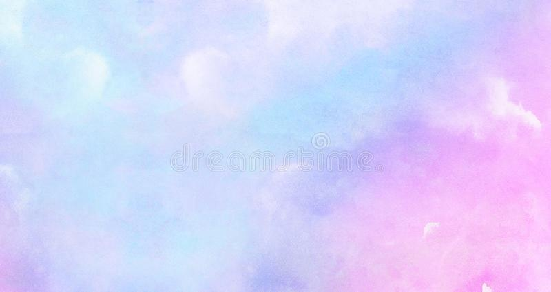 Modern creative smeared blue, purple and pink shades aquarelle background for vintage card, retro template. Watercolor paper textured ink effect grungy wet stock image