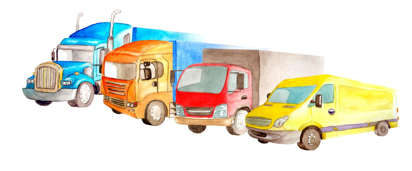 Watercolor park of trucks, lorries, van of different colors, truck models and designs stand side by side on a white background royalty free illustration