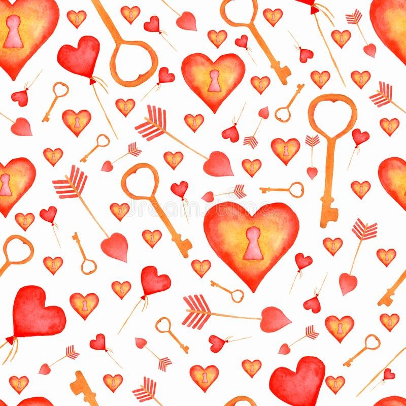 Watercolor pattern with arrows,butterfly,key,lock and hearts balloons on white background.Hand painting seamless pattern. For valentine day in red and yellow royalty free stock image