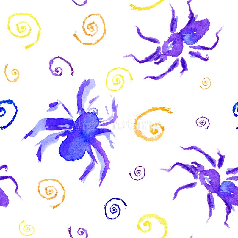 Watercolor seamless pattern or background of violet and blue spider and color webs to Halloween. Hand drawn royalty free illustration