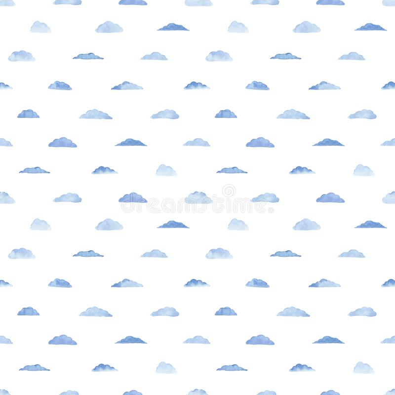 Watercolor pattern with blue clouds. Watercolor seamless pattern with clouds on the white background. Weather illustration. Abstract modern background. Template stock illustration