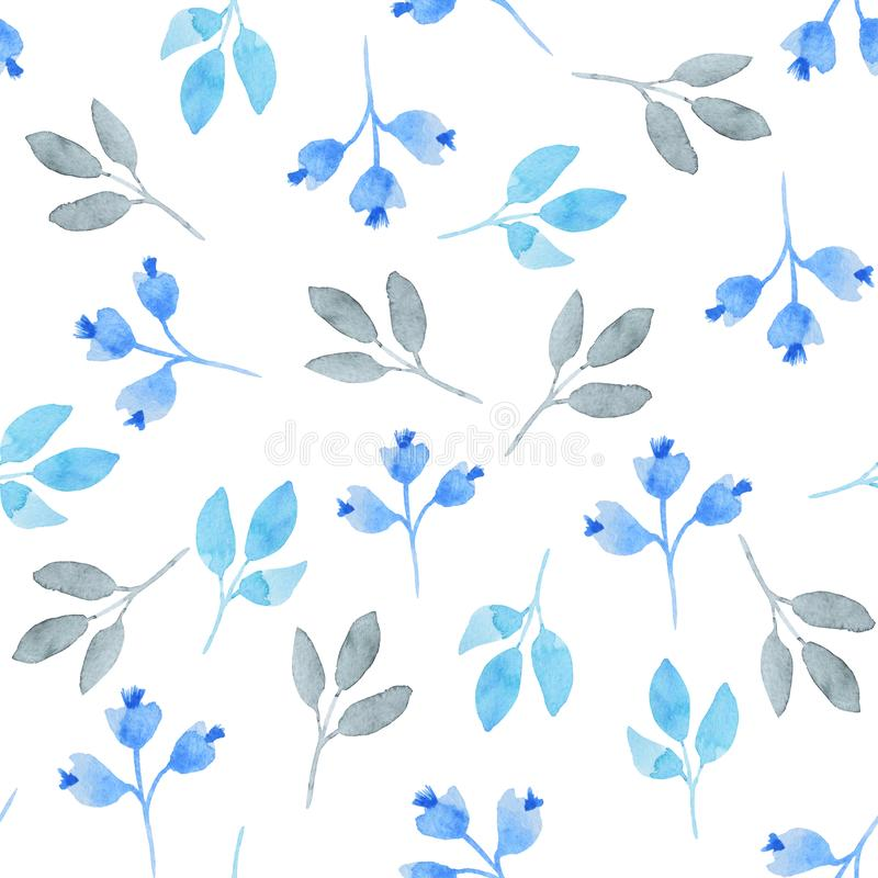 Watercolor pattern of blue leaves on the white backgroun. Watercolor seamless pattern of blue leaves on the white backgroun stock illustration