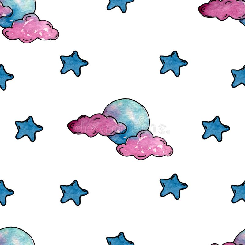 Watercolor pattern with blue stars, pink clouds and the moon. Watercolor pattern with stars, clouds and moon. Suitable for a bed and nicely fit in the design vector illustration