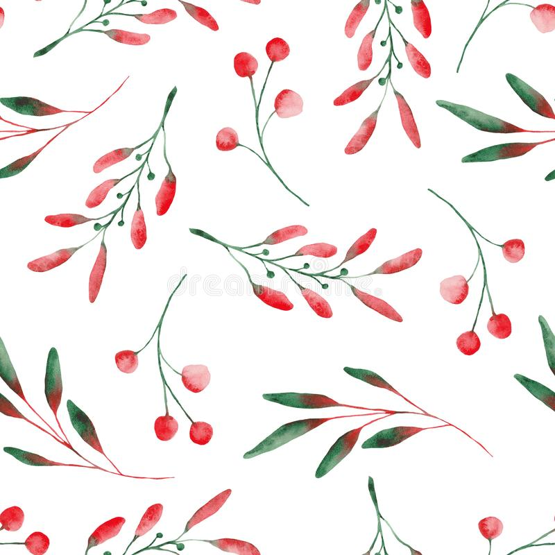 Watercolor pattern with Christmas leaves and flowers. stock illustration
