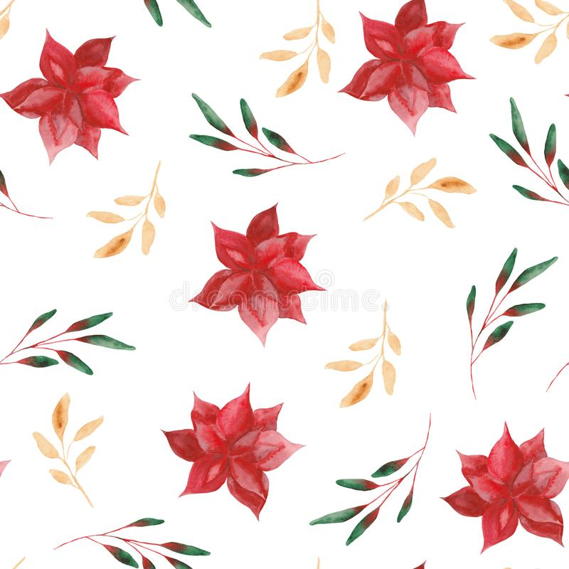 Watercolor pattern with Christmas leaves and flowers. vector illustration