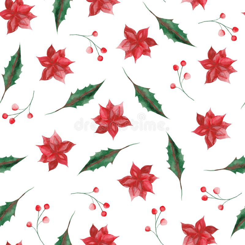 Watercolor pattern with Christmas leaves and flowers. Watercolor pattern with Christmas leaves, flowers, wreaths and frames. Ideal for cards and invitations stock illustration