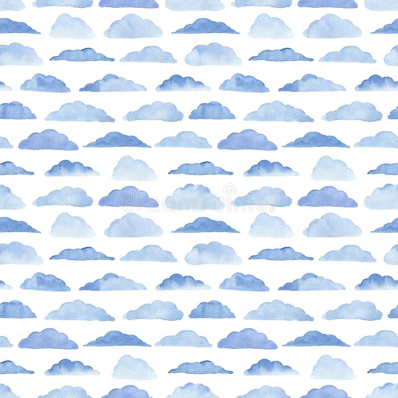 Watercolor pattern with blue clouds. Watercolor seamless pattern with clouds on the white background. Weather illustration. Abstract modern background. Template royalty free illustration