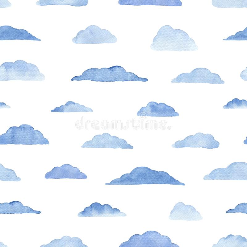 Watercolor pattern with clouds on the white. Watercolor seamless pattern with clouds on the white background. Weather illustration. Abstract modern background vector illustration