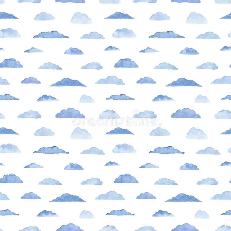 Watercolor pattern with clouds on the white. Watercolor seamless pattern with clouds on the white background. Weather illustration. Abstract modern background royalty free illustration