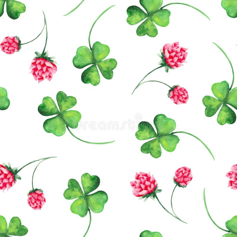 Watercolor pattern with clover, horseshoe and clover flowers. Perfect for postcards for St. Patrick`s Day vector illustration
