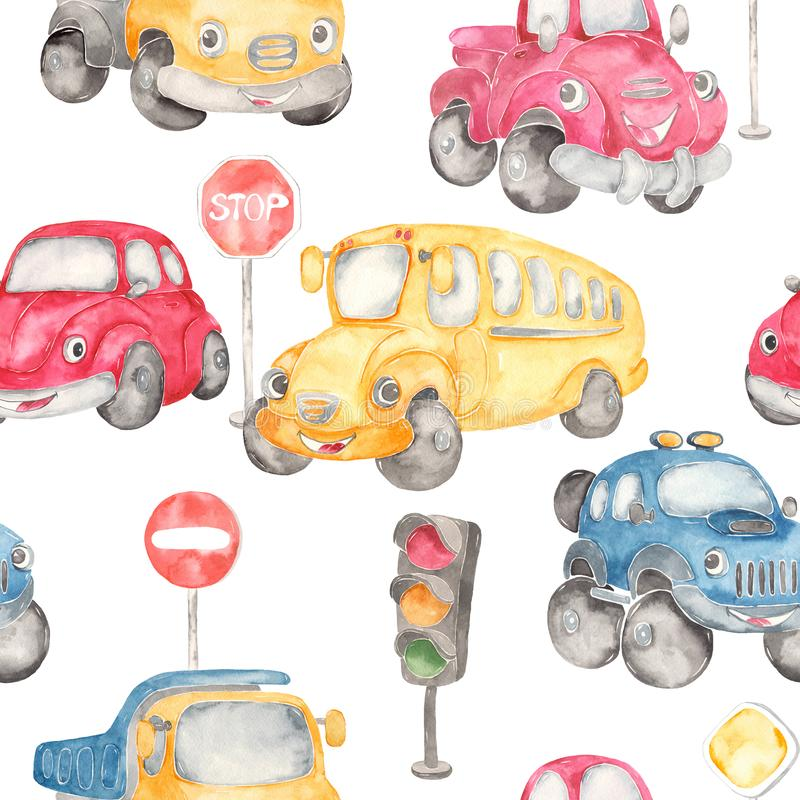 Watercolor pattern school bus, red car beetle, pickup, offroad, truck, road signs and traffic ligth royalty free illustration