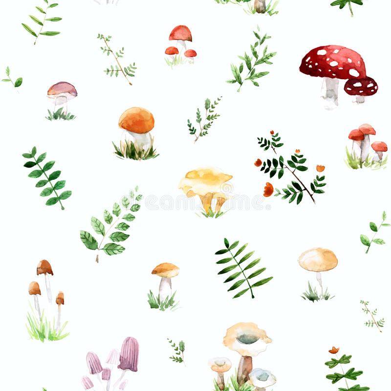 Watercolor pattern with cute and mushrooms leafs in awesome colors. royalty free stock image