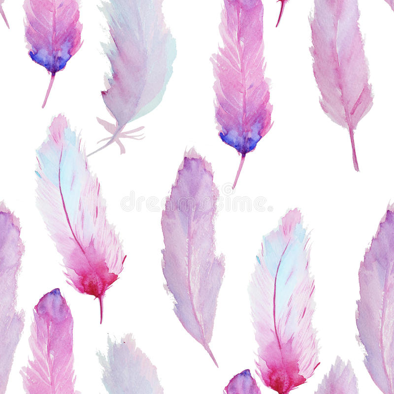 Download Watercolor Pattern With Feathers Stock Photo