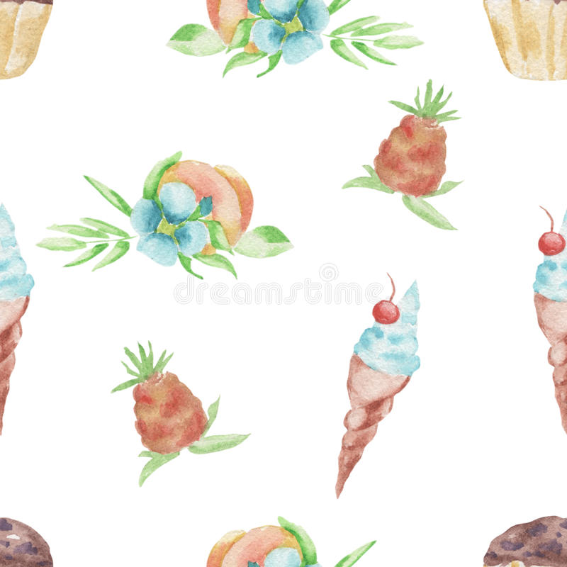Watercolor pattern fruits and ice cream, cake seamless design on white background vector illustration