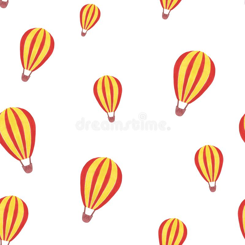 Watercolor pattern of handmade with a balloon, isolated on white background. royalty free stock photography