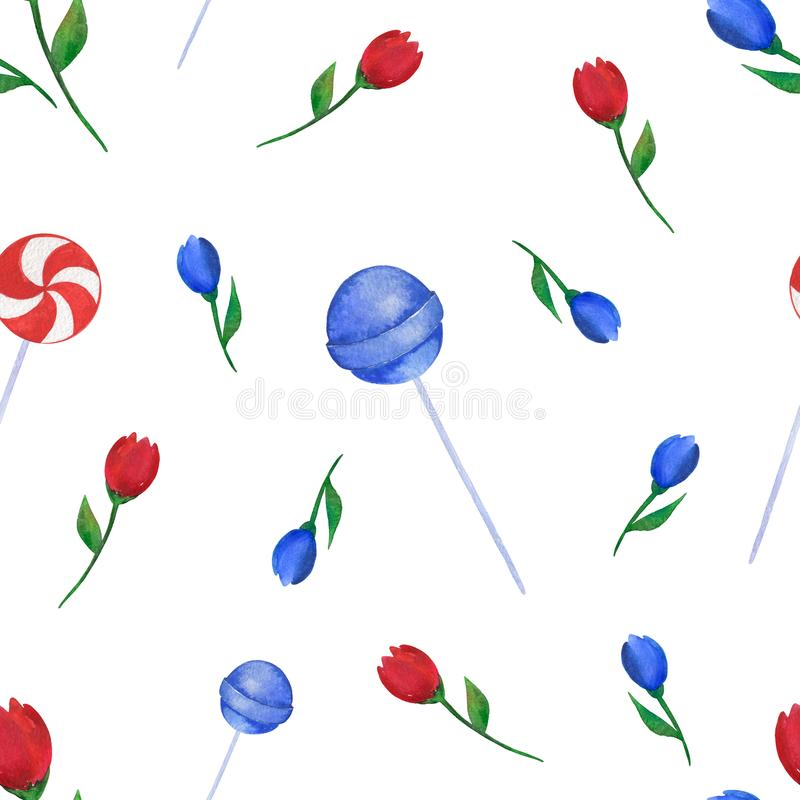 Watercolor pattern of handmade on a white background with flowers and sugar candies. royalty free stock images