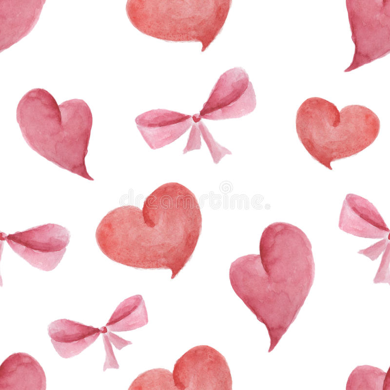Watercolor pattern of hearts and bows seamless design on white background.  royalty free stock image