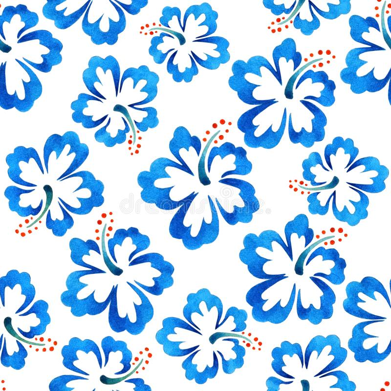 Watercolor pattern with large blue flowers vector illustration