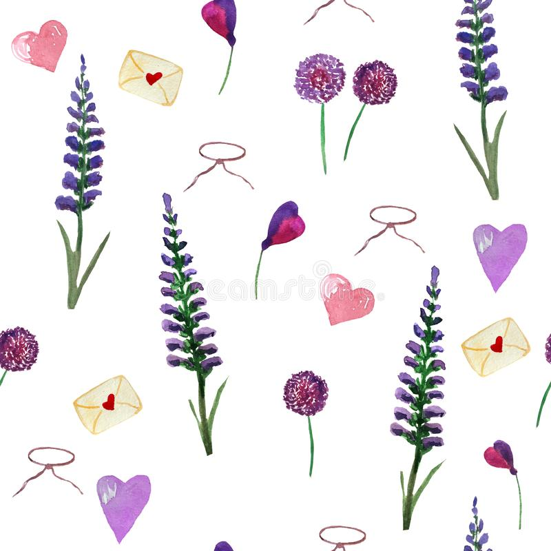 Watercolor pattern of lavender, wildflowers and hearts on a white background. vector illustration