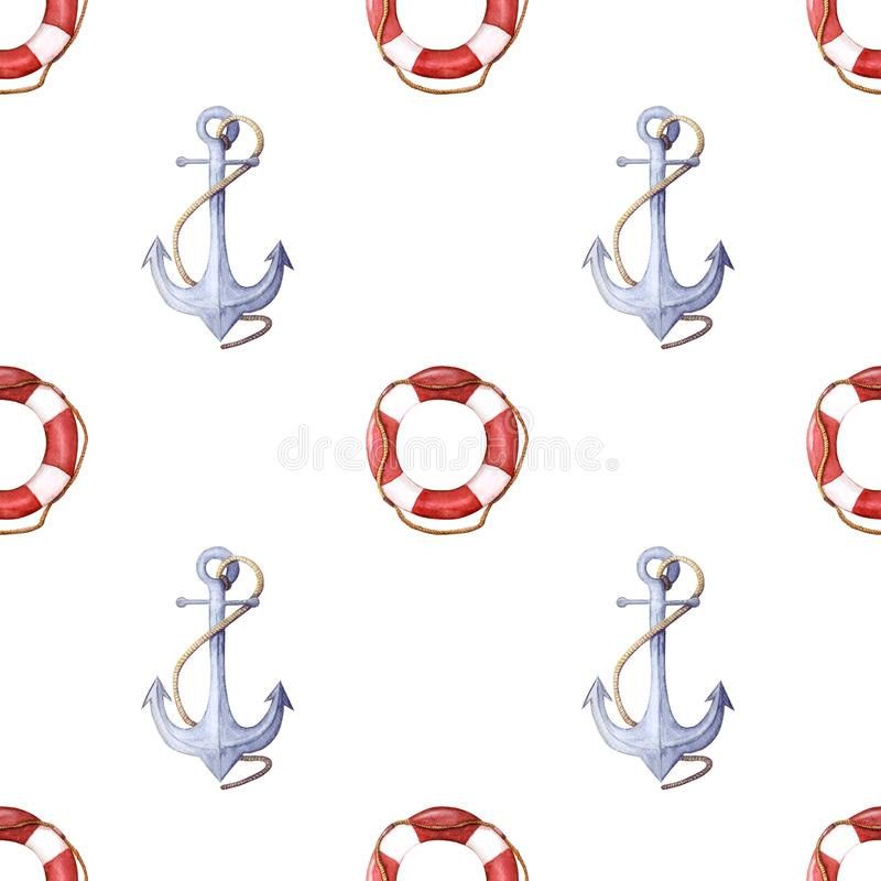 Watercolor pattern of life-ring and anchor. lifebuoy with rope and anchor with rope seamless pattern royalty free illustration