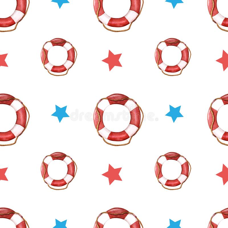 Watercolor pattern of life-ring with red and blue stars. lifebuoy with rope. Watercolor pattern of lifebuoy with red and blue stars isolated on white backdrop stock photography