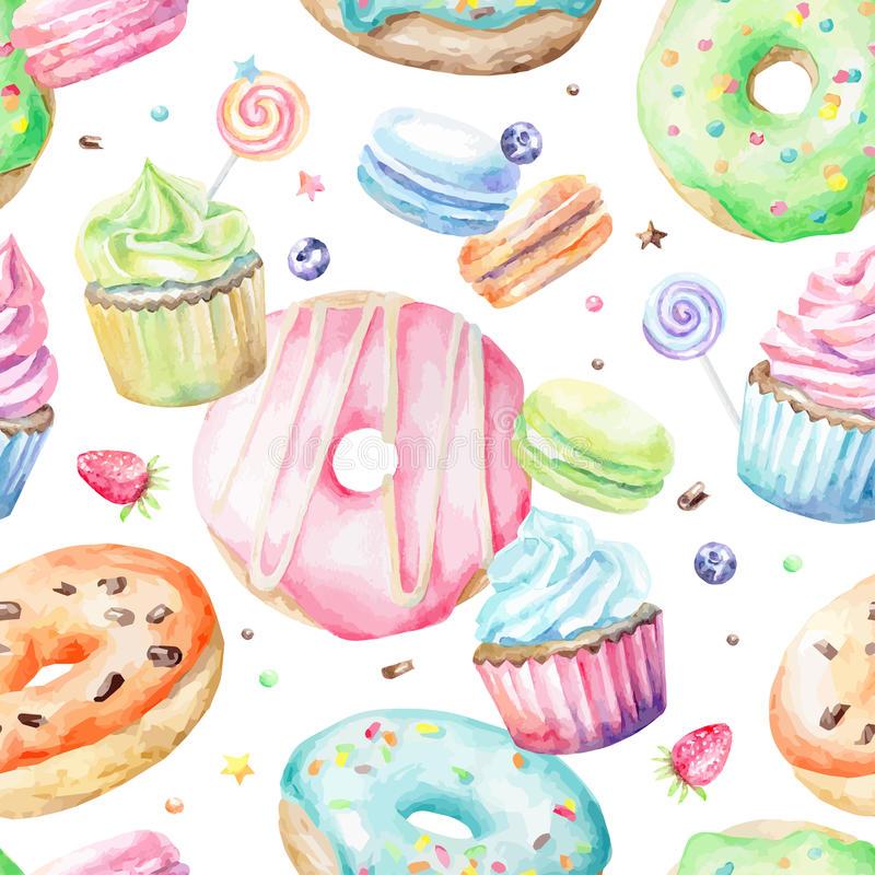 Watercolor pattern with macarons, cupcakes, donuts stock illustration